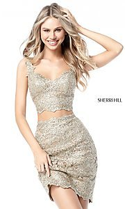 Image of Sherri Hill short two-piece lace homecoming dress.  Style: SH-51522 Front Image