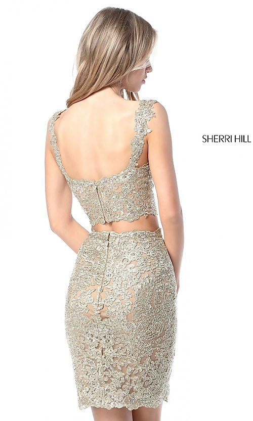 Image of Sherri Hill short two-piece lace homecoming dress.  Style: SH-51522 Back Image
