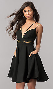 Image of short homecoming party dress with pockets. Style: SH-S51468 Front Image