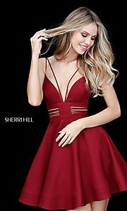 Image of Sherri Hill short homecoming party dress with pockets. Style: SH-S51468 Front Image