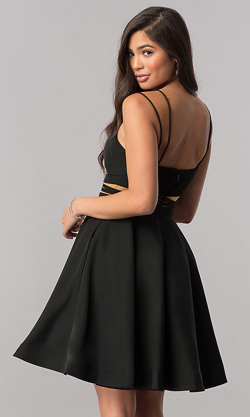 Image of short homecoming party dress with pockets. Style: SH-S51468 Back Image