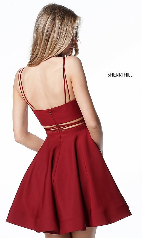 Image of Sherri Hill short homecoming party dress with pockets. Style: SH-S51468 Back Image