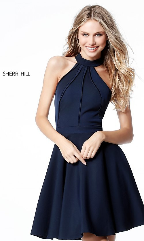 Image of racerback short homecoming dress by Sherri Hill. Style: SH-S51469 Front Image