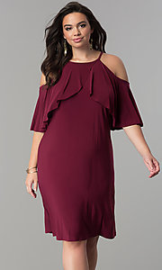 Image of short shift cold-shoulder plus-size party dress.  Style: MO-2068W Detail Image 3