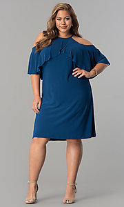 Image of short shift cold-shoulder plus-size party dress.  Style: MO-2068W Detail Image 1