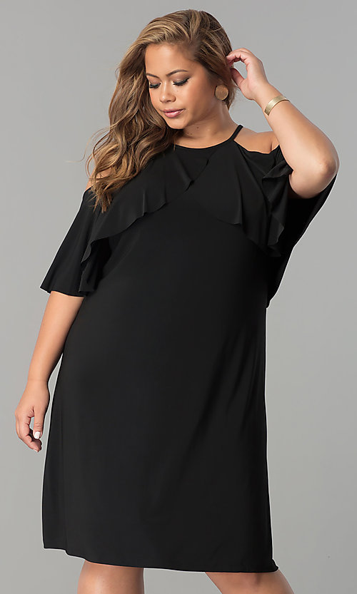 Image of short shift cold-shoulder plus-size party dress.  Style: MO-2068W Detail Image 2