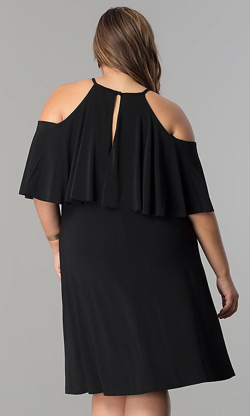 Image of short shift cold-shoulder plus-size party dress.  Style: MO-2068W Back Image