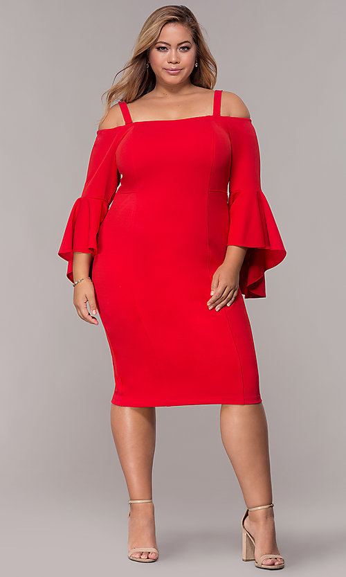 Image of off-the-shoulder bell-sleeve plus-size party dress.  Style: MO-8858W Detail Image 1