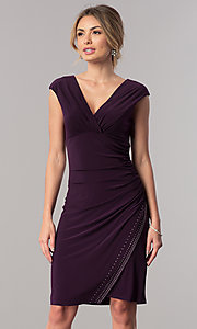 Image of short empire-waist v-neck mother-of-the-bride dress. Style: JU-ON-649560i Detail Image 2