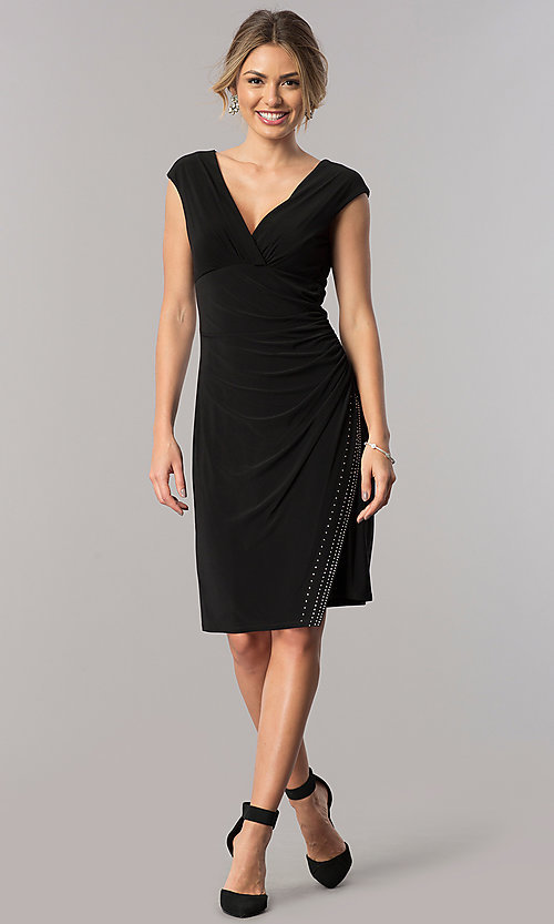 Image of short empire-waist v-neck mother-of-the-bride dress. Style: JU-ON-649560i Detail Image 1