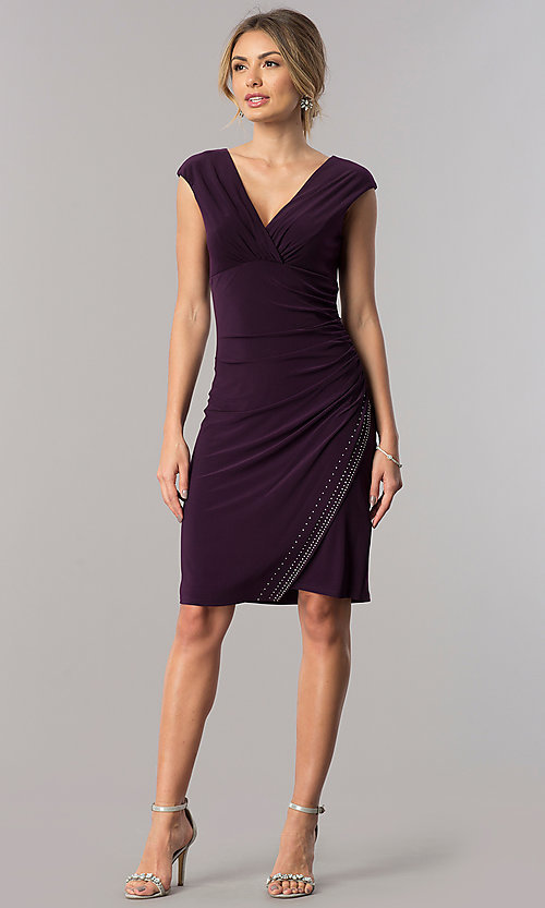 Image of short empire-waist v-neck mother-of-the-bride dress. Style: JU-ON-649560i Detail Image 3