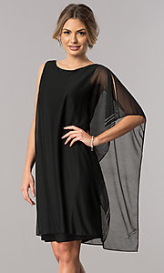 Image of short black mother-of-the-bride dress with cape. Style: JU-ON-649562i Front Image