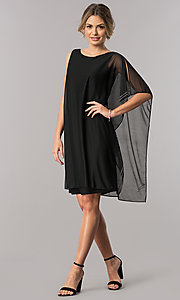 Image of short black mother-of-the-bride dress with cape. Style: JU-ON-649562i Detail Image 1