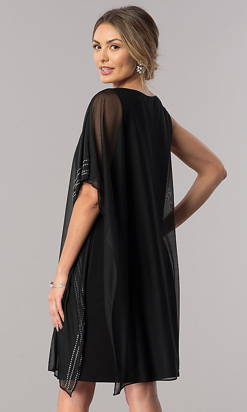Image of short black mother-of-the-bride dress with cape. Style: JU-ON-649562i Back Image
