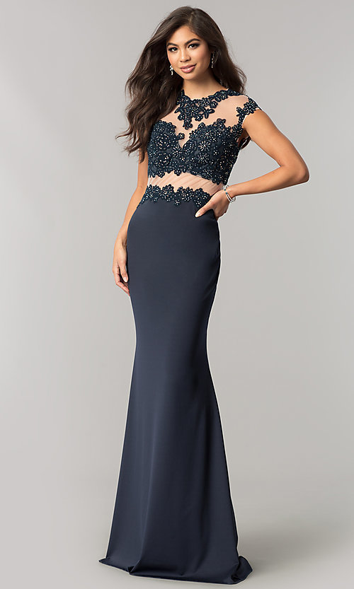 Jvnx By Jovani Lace Applique Long Navy Formal Dress