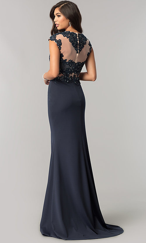 Image of long JVNX by Jovani navy formal dress with lace. Style: JO-JVNX115 Back Image