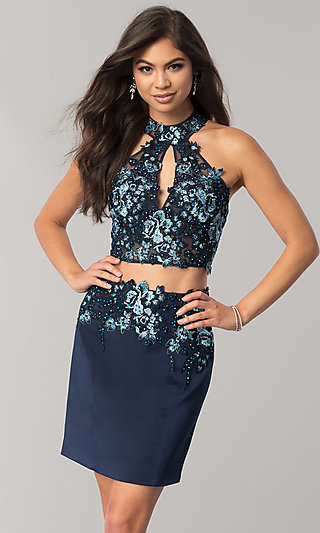 JVNX by Jovani Two-Piece Navy Blue Homecoming Dress