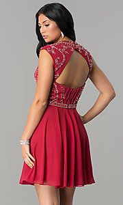 Image of burgundy short JVNX by Jovani homecoming dress. Style: JO-JVNX147 Back Image