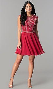 Image of burgundy short JVNX by Jovani homecoming dress. Style: JO-JVNX147 Detail Image 1