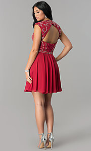 Image of burgundy short JVNX by Jovani homecoming dress. Style: JO-JVNX147 Detail Image 2