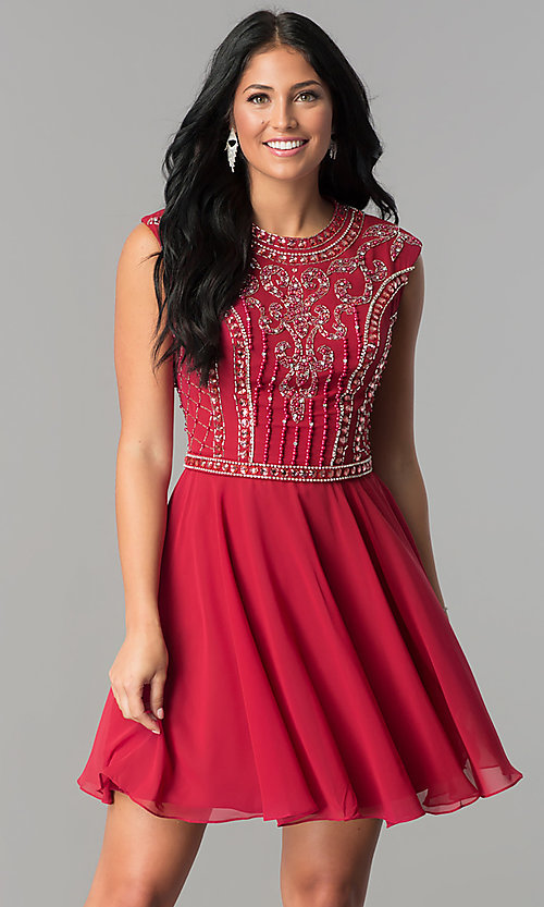 Image of burgundy short JVNX by Jovani homecoming dress. Style: JO-JVNX147 Front Image