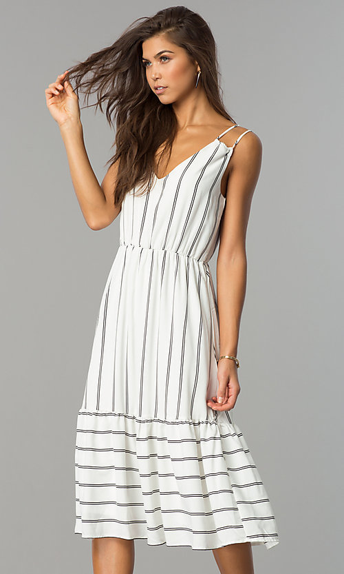 Image of short white casual cruise midi dress with stripes.  Style: JTM-JD7871 Front Image