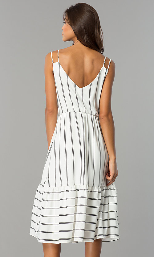 Image of short white casual cruise midi dress with stripes.  Style: JTM-JD7871 Back Image