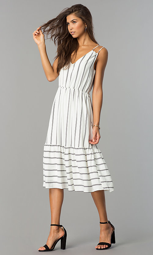 Image of short white casual cruise midi dress with stripes.  Style: JTM-JD7871 Detail Image 1