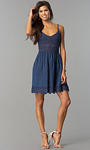 Image of crocheted-bodice short casual cruise party dress. Style: VE-008-211453 Detail Image 1
