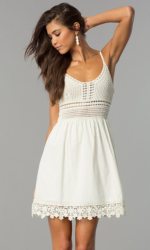 Image of crocheted-bodice short casual cruise party dress. Style: VE-008-211453 Detail Image 2
