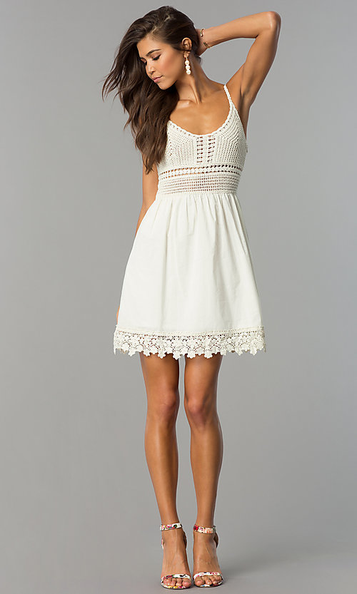 Image of crocheted-bodice short casual cruise party dress. Style: VE-008-211453 Detail Image 3