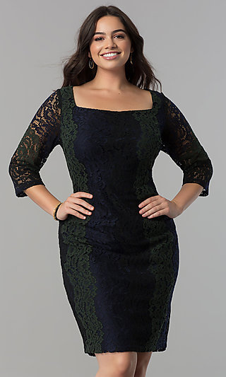 Square-Neck Knee-Length Lace Party Dress