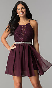 Image of short sequin-lace burgundy chiffon homecoming dress.  Style: DMO-J318097 Front Image