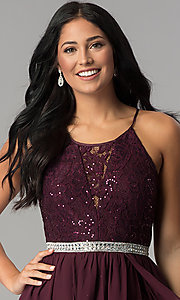 Image of short sequin-lace burgundy chiffon homecoming dress.  Style: DMO-J318097 Detail Image 1