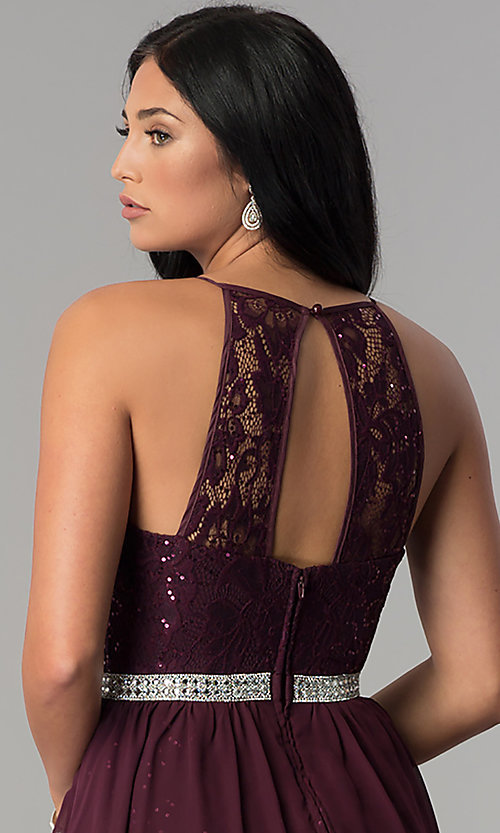 Image of short sequin-lace burgundy chiffon homecoming dress.  Style: DMO-J318097 Detail Image 2