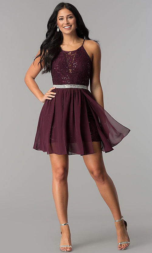 Image of short sequin-lace burgundy chiffon homecoming dress.  Style: DMO-J318097 Detail Image 3