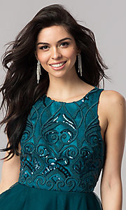 Image of turquoise green short homecoming dress with open back. Style: DMO-J318307 Detail Image 1