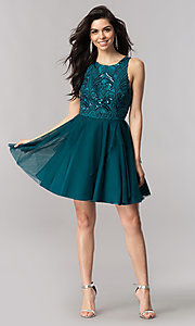 Image of turquoise green short homecoming dress with open back. Style: DMO-J318307 Detail Image 2
