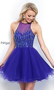 Image of high-neck short violet purple homecoming dress. Style: BL-IN-351 Front Image