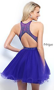 Image of high-neck short violet purple homecoming dress. Style: BL-IN-351 Back Image