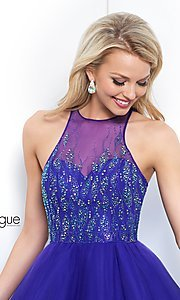 Image of high-neck short violet purple homecoming dress. Style: BL-IN-351 Detail Image 1
