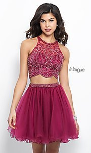 Image of short two-piece berry pink homecoming dress.  Style: BL-IN-360 Front Image