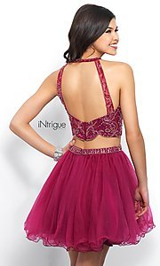 Image of short two-piece berry pink homecoming dress.  Style: BL-IN-360 Back Image