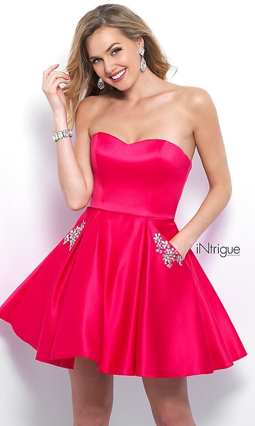 Image of short strapless homecoming dress with beaded pockets. Style: BL-IN-363 Front Image
