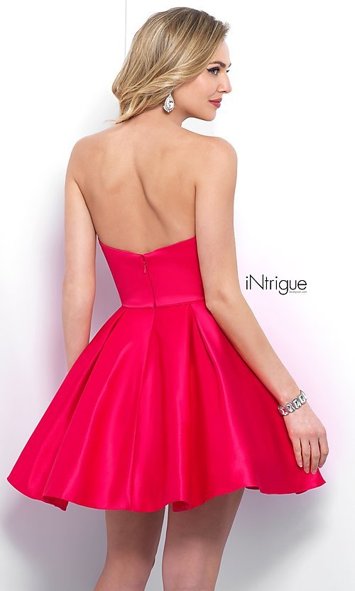 Image of short strapless homecoming dress with beaded pockets. Style: BL-IN-363 Back Image