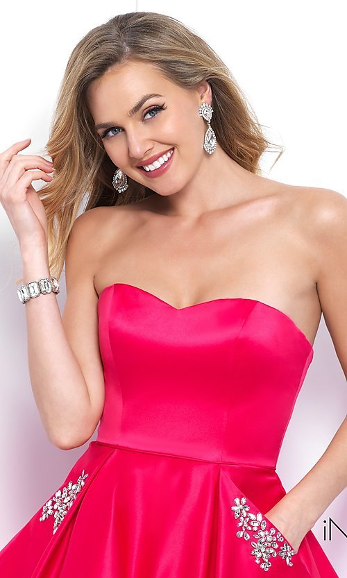 Image of short strapless homecoming dress with beaded pockets. Style: BL-IN-363 Detail Image 1