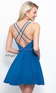 Image of Intrigue by Blush v-neck beaded-bodice prom dress. Style: BL-IN-366 Back Image