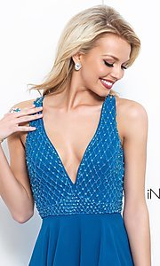 Image of Intrigue by Blush v-neck beaded-bodice prom dress. Style: BL-IN-366 Detail Image 1