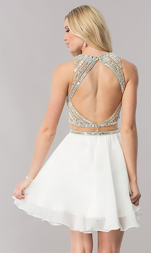 Image of mock-two-piece short chiffon homecoming party dress. Style: CD-1744 Back Image