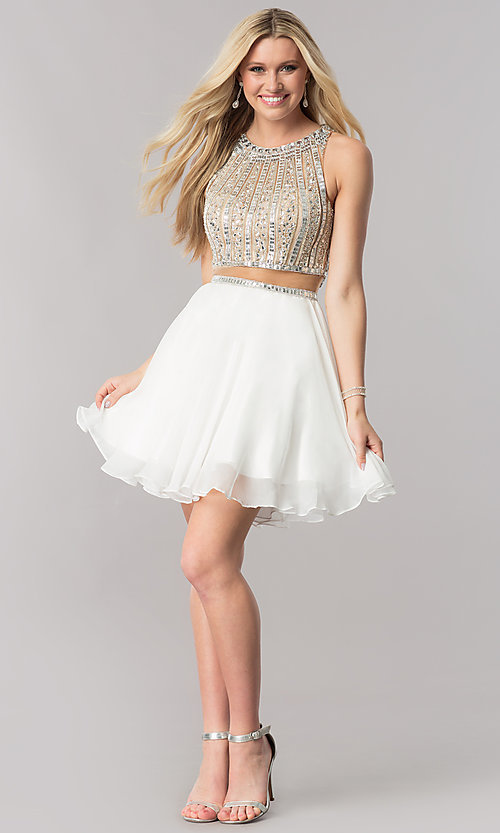 Image of mock-two-piece short chiffon homecoming party dress. Style: CD-1744 Detail Image 1